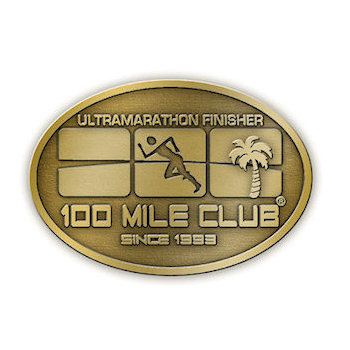 100 Mile Club Ultramarathon Finisher belt buckle with runner and palm tree