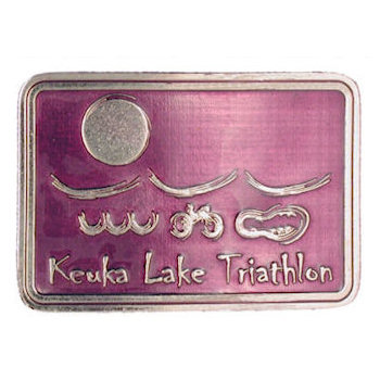 Keuka Lake Triathlon Buckle with Swimming, Cycling and Running symbols on colorful buckle with Sun displayed