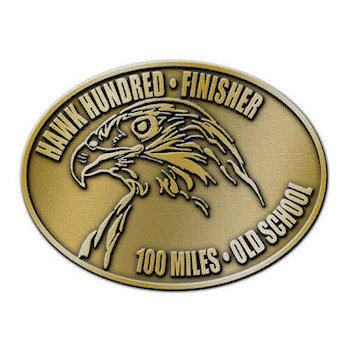 Hawk Hundred Finisher - 100 Miles - Old School Buckle with Hawk Head