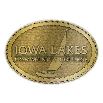 Iowa Lakes Community College Belt Buckle with Sailboat