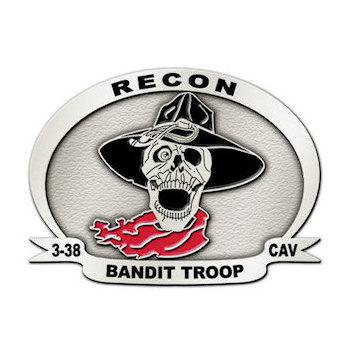 Recon Bandit Troop Calvary Belt Buckle with Skull and Hat with Bandana