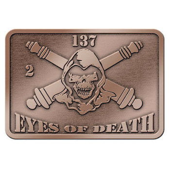 Eyes of Death Belt Buckle with Crossed Canon and Skull