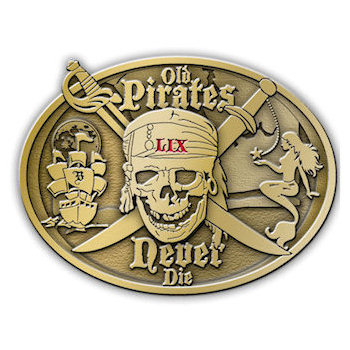 Old Pirates Never Die Belt Buckle with Pirate Skull and Crossed Swords with Ship and Sails