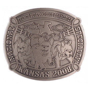 Bull dogs running on this unique belt buckle