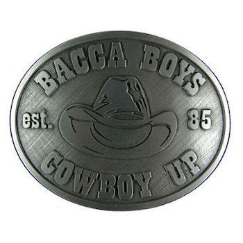 Oval cowboy hat belt buckle with stetson hat in middle of design