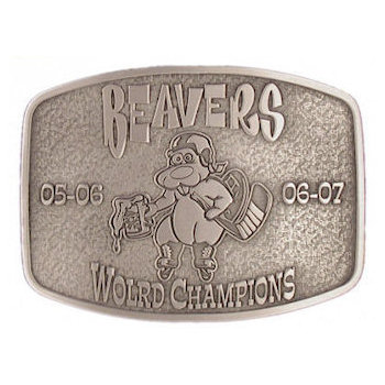 Beavers mascot championship belt buckle with stippled antique background