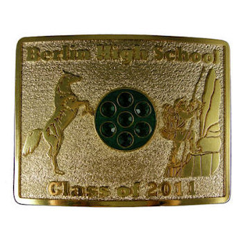 Horse standing on back legs and mountain climber on this classy belt buckle