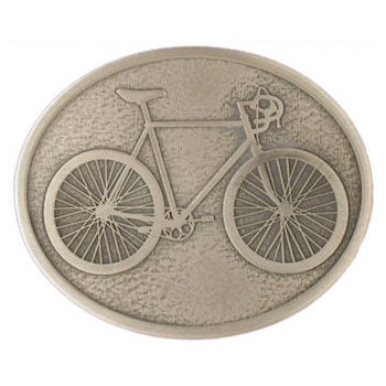Bicycle on this oval belt buckle