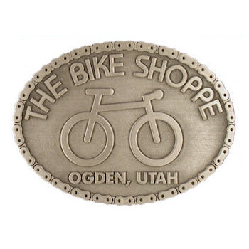 Cycling belt buckle with bike chain border