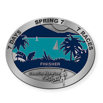 Charlie Alewine Racing Finisher Belt Buckle with Palm Trees and Sail boat on blue water