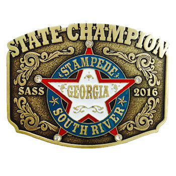State Champion Georgia South River Belt Buckle with Intricate Detail and Sheriff Star