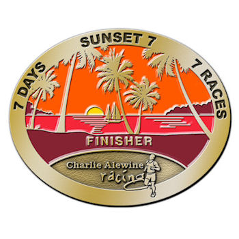 Charlie Alewine Racing Buckle with Palm Trees and Sun setting on horizon with Sailboat sailing