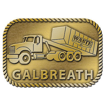 Buckle designed for waste management company using image of truck with an industrial rope border