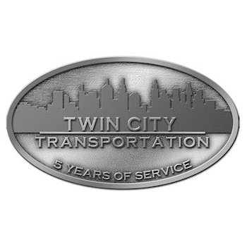 Buckle design for transportation company recognition of service with company branding and skyline