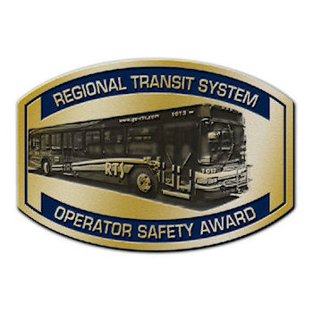 Buckle awarded by regional transit system for operator safety with photo etched graphic of company bus vehicle