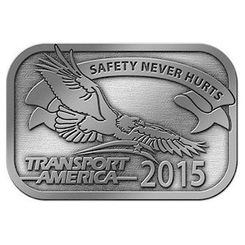 Buckle for Transport America with eagle, stars and stripes and motto banner for 2015 recognition of safe drivers