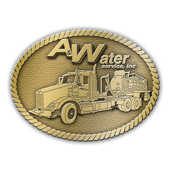 Company buckle with large transport vehicle and logo incorporated into western border theme
