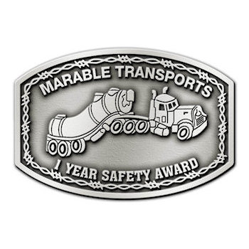 Recognition buckle of 1 year safe driving for transport company with western themed barbed wire and artistic sketch of company truck