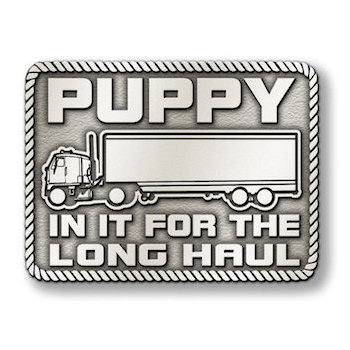 Long Haul Belt Buckle with Transport Truck and Cab with Rope Border