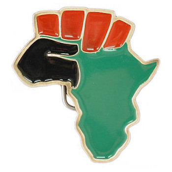 Belt buckle in shape of Africa with symbolic colors