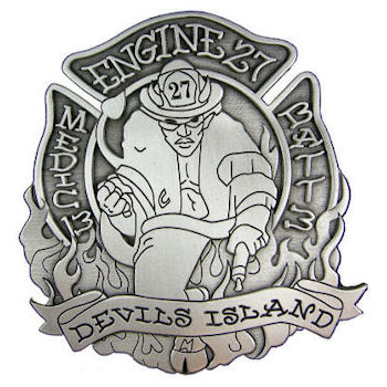 Firefighter belt buckle with firefighter in full gear with textured border