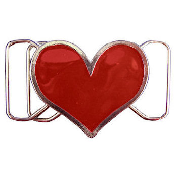 Stylish custom heart belt buckle with red color
