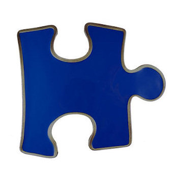 Jig saw puzzle shape with blue color fill belt buckle