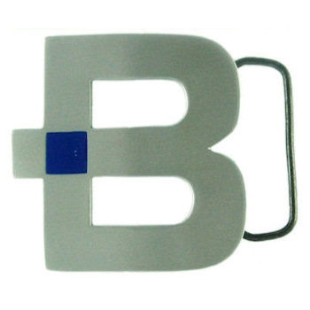 Letter B cut out belt buckle with blue color accent