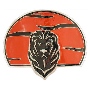 Lion head belt buckle with orange background and black color accents
