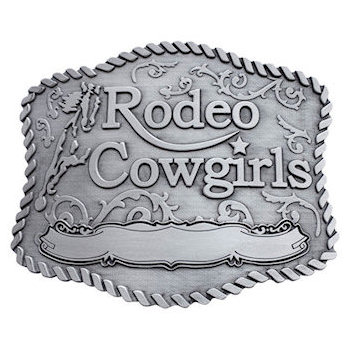 Western Rodeo Cowgirls pewter buckle with filigree background and horse silhouette. Engravable area for custom text