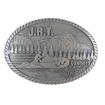 Camping and canoeing forestry belt buckle with multi-dimensional background and rope border