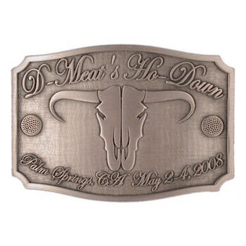 Western Golf Theme Ranch belt buckle with longhorn