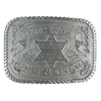 Western Film Recognition belt buckle with Sheriff's Badge and engraving and stippled antique background and rope border