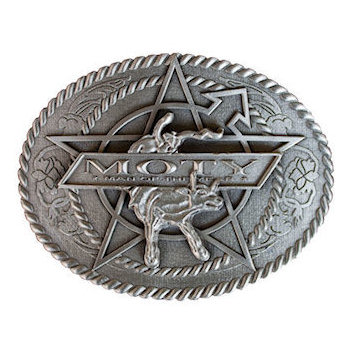 Steer kicking on center of oval 3D belt buckle with rope border and intricate engraving detail