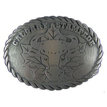 Canadian Western Festival Cattle head belt buckle with rope border