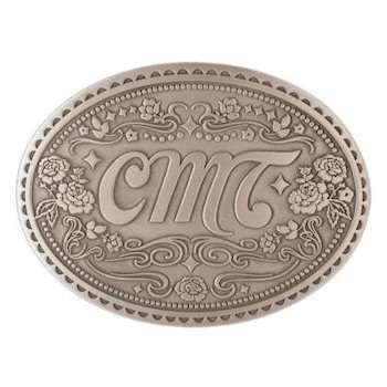 Country and Western decorative belt buckle with intricate floral design