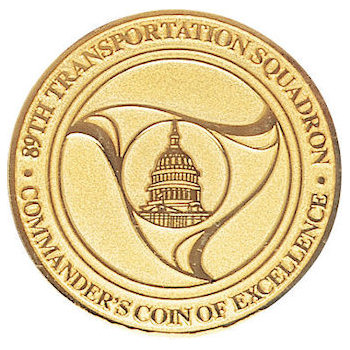 Coin of excellence awarded to the 89th Transporation Squadron for service