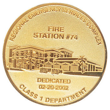 Member challenge coins for Fire Department