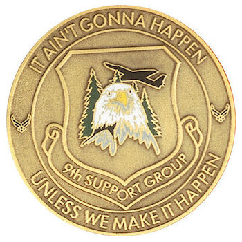 Member coins for 9th support group air division with eagle in color detail