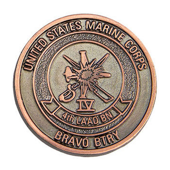 Team member coin for the US Marine Corps with a brilliant copper finish and detailed background