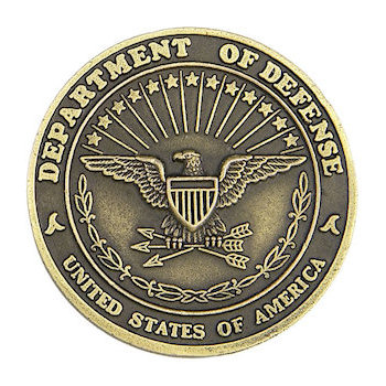 Presentation coin for Department of Defense with antiquing to bring out fine detail and characteristics of eagle and patriotic images