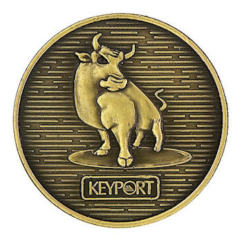 Coin with bull and logo