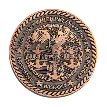 Beautiful copper coin with patriotic detail and rope border edges