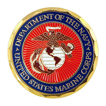 Navy US Marine Corps challenge coin with full color detail and diamond edging
