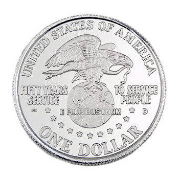 Commemorative US Dollar coin with patriotic images and bright silver finish