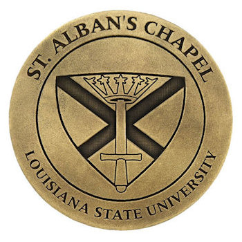 Alumni coin with school emblem in a classic antique finish