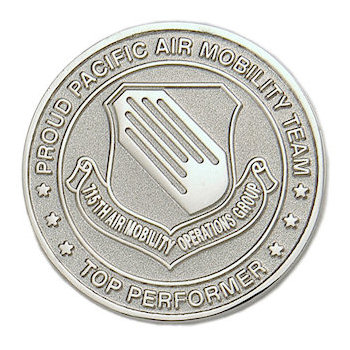Sandblasted, bright finished coin with emblem for award recipients