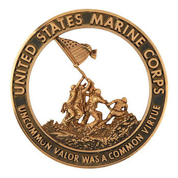 Commemorative 3D cut out Military Coin depicting flag raising at Iwo Jima with