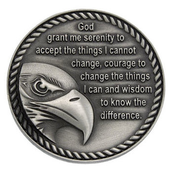 Eagle on side of Serenity Prayer Coin with rope border