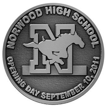 Commemorative Norwood High School Coin with Galloping Horse centered over Capital Letter N